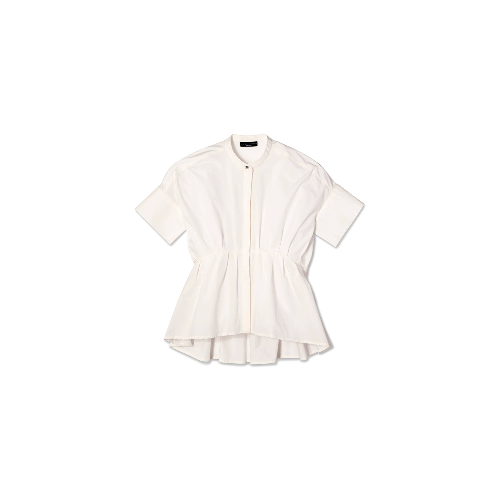 White Poplin Gathered Waist Top