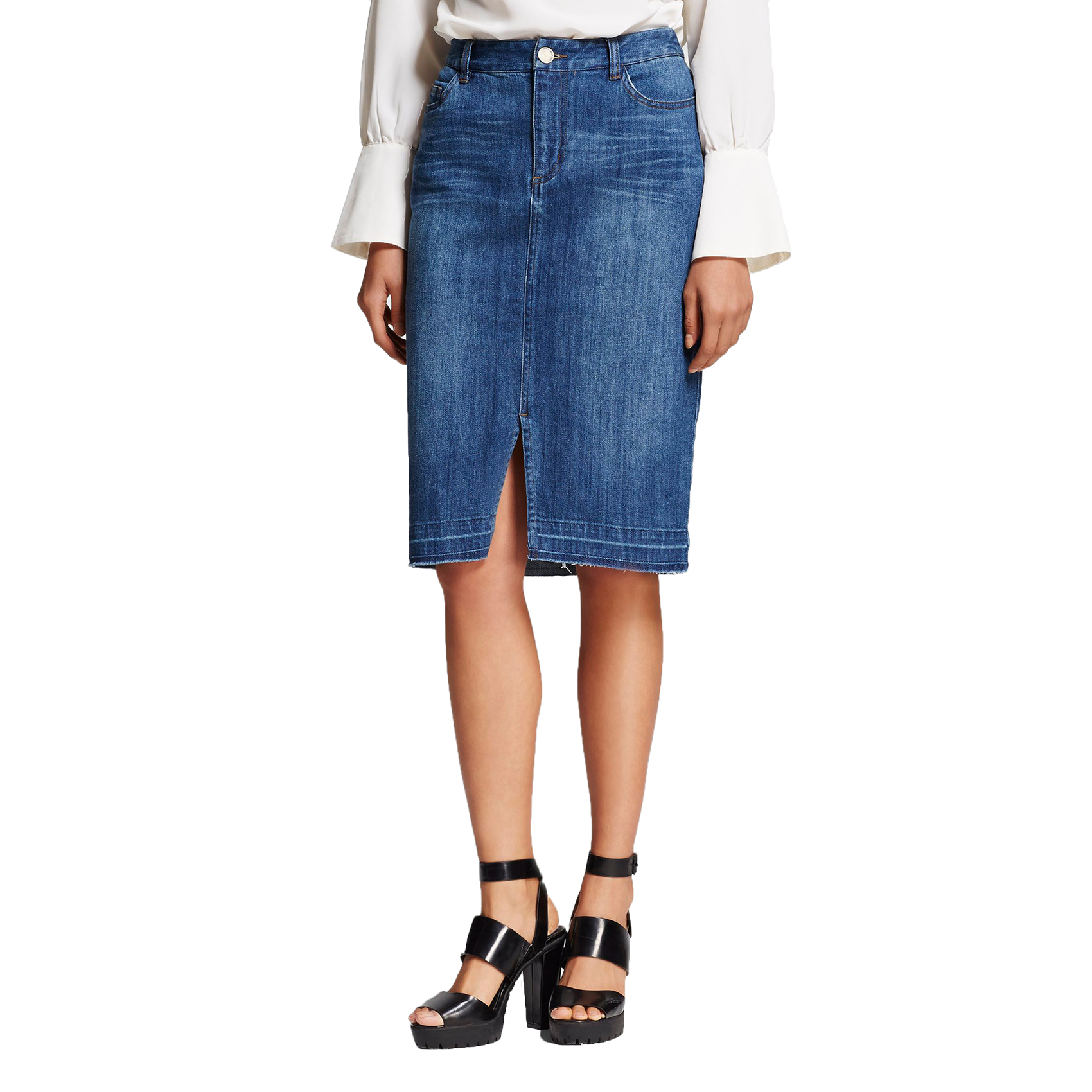 Who What Wear Denim Pencil Skirt