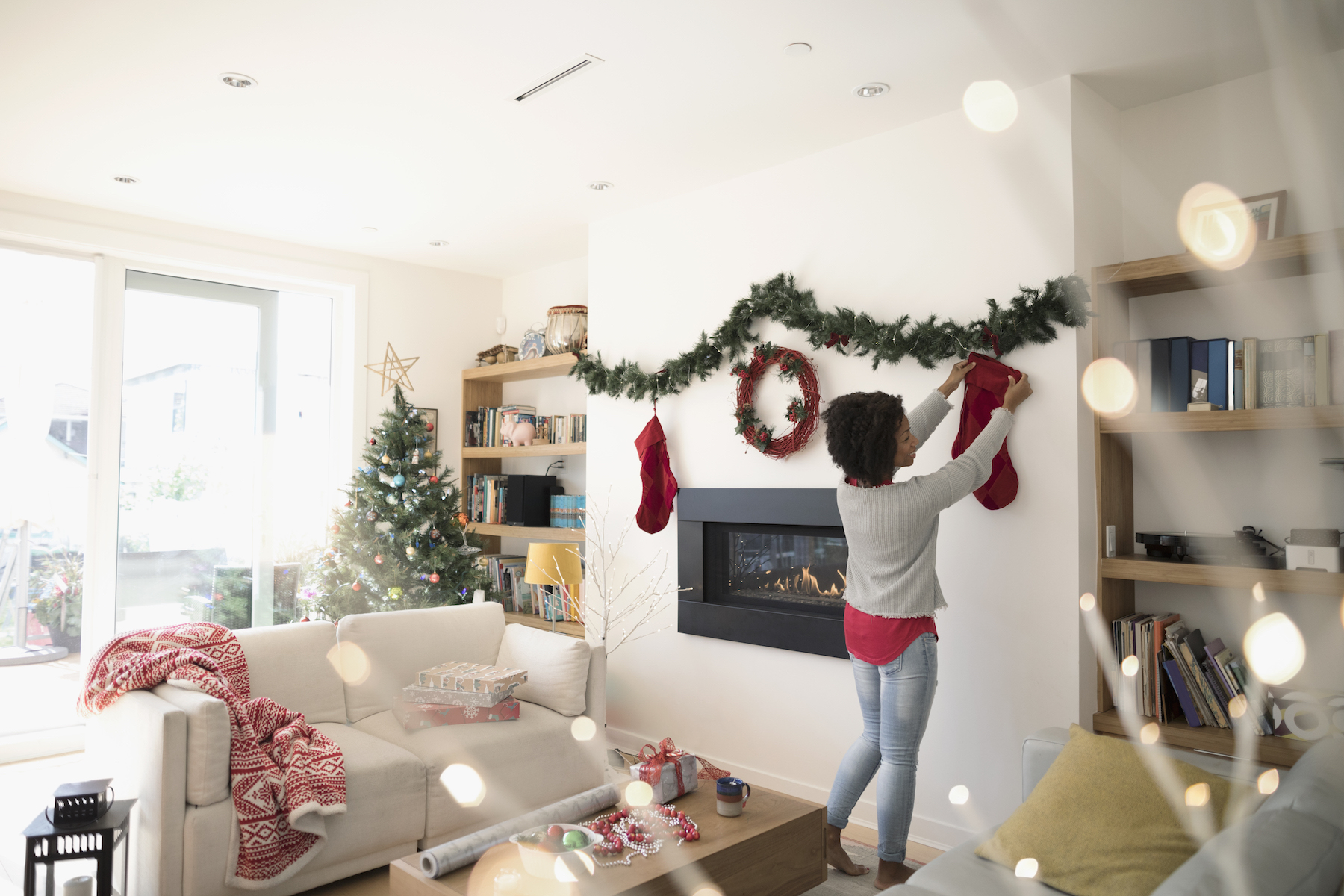Woman Decorating for the Holidays