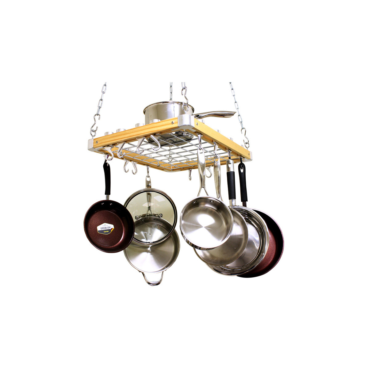 Wood Ceiling Pot Rack Set