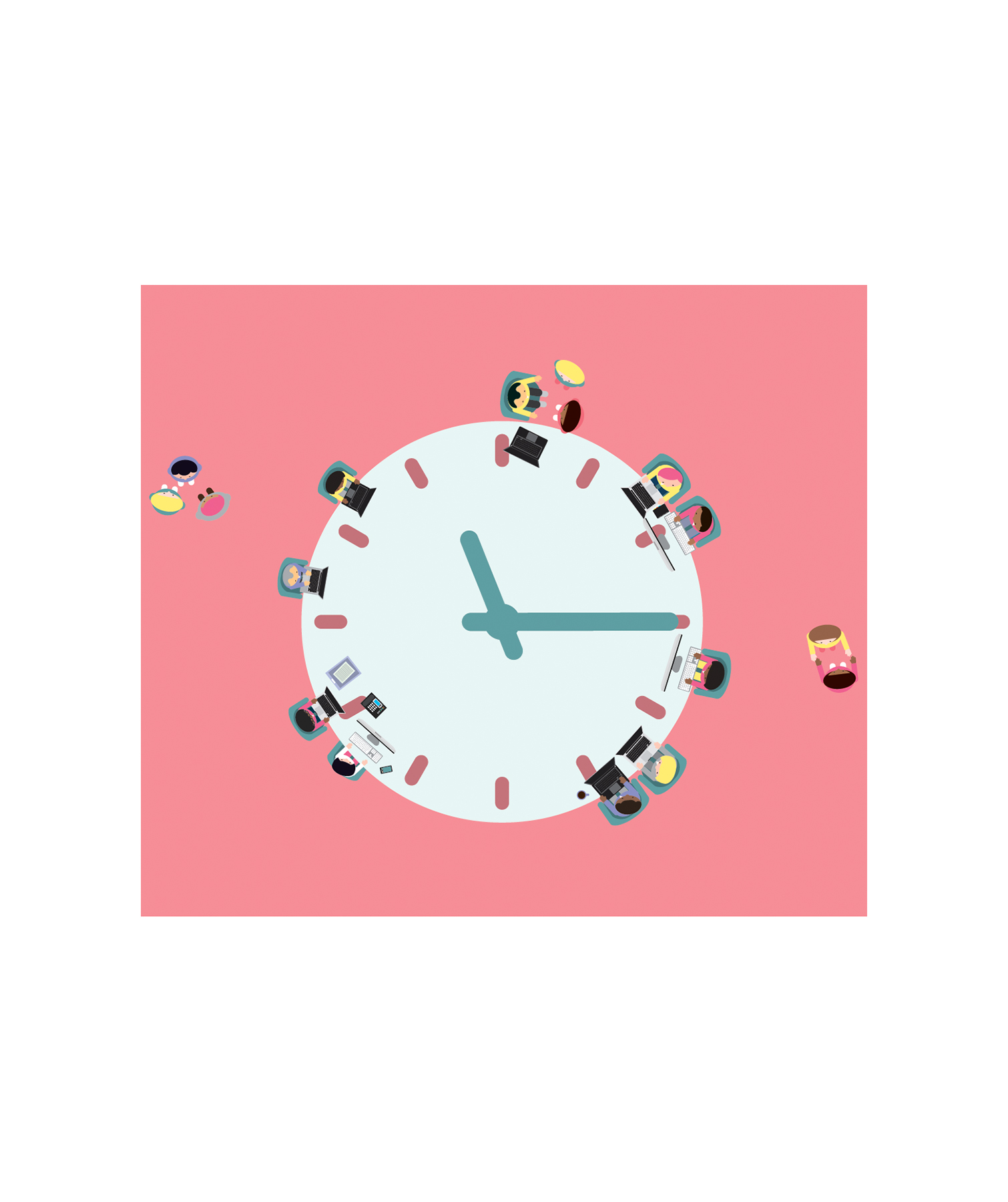 Illustration: workers around a clock