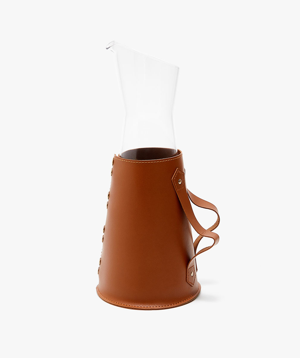 Glass Jug With Faux Leather Cover