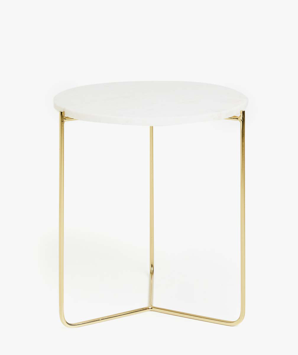 Golden Side Table With Marble Top