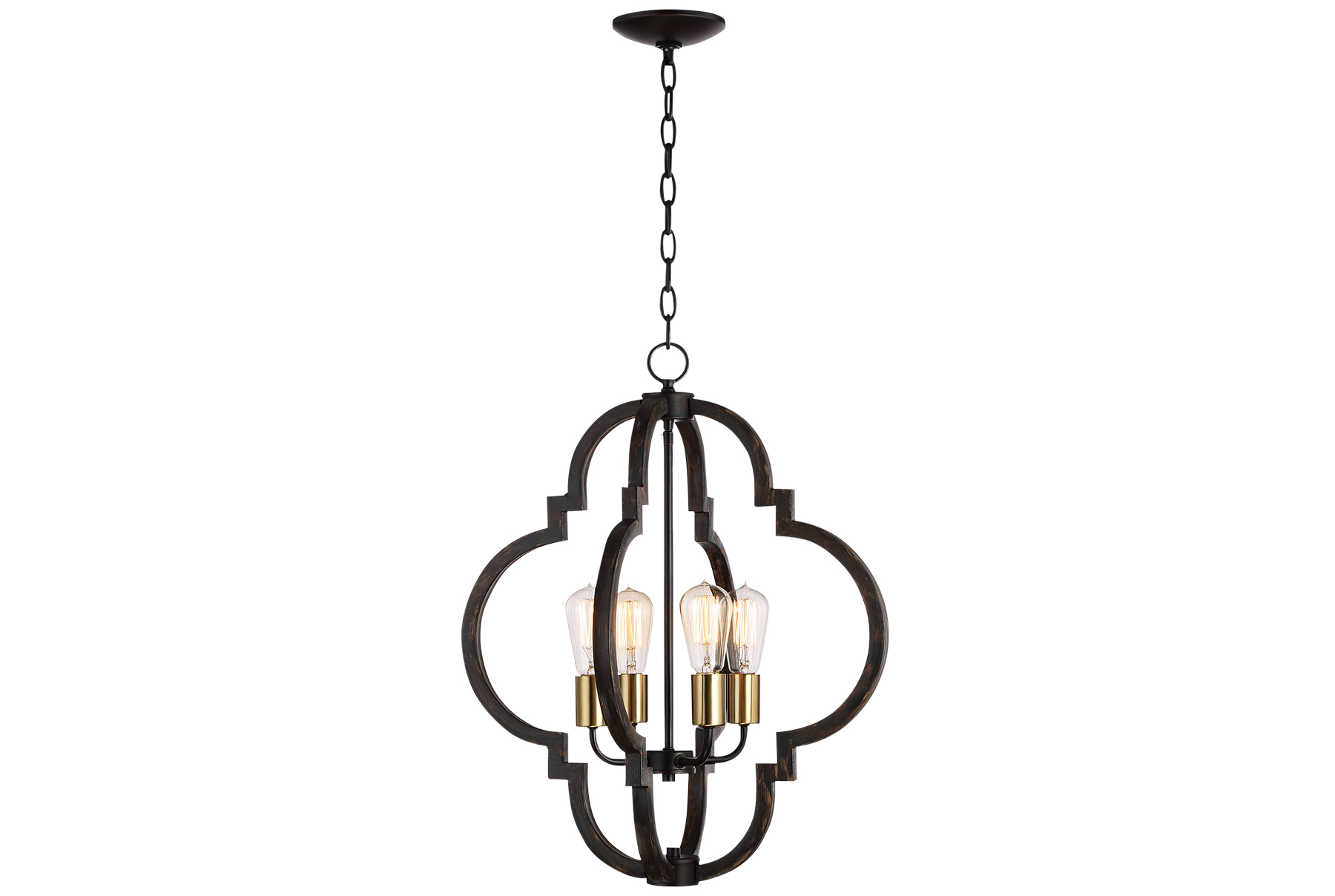 Ayoura Wood-Grain 4-Light Pendant Chandelier