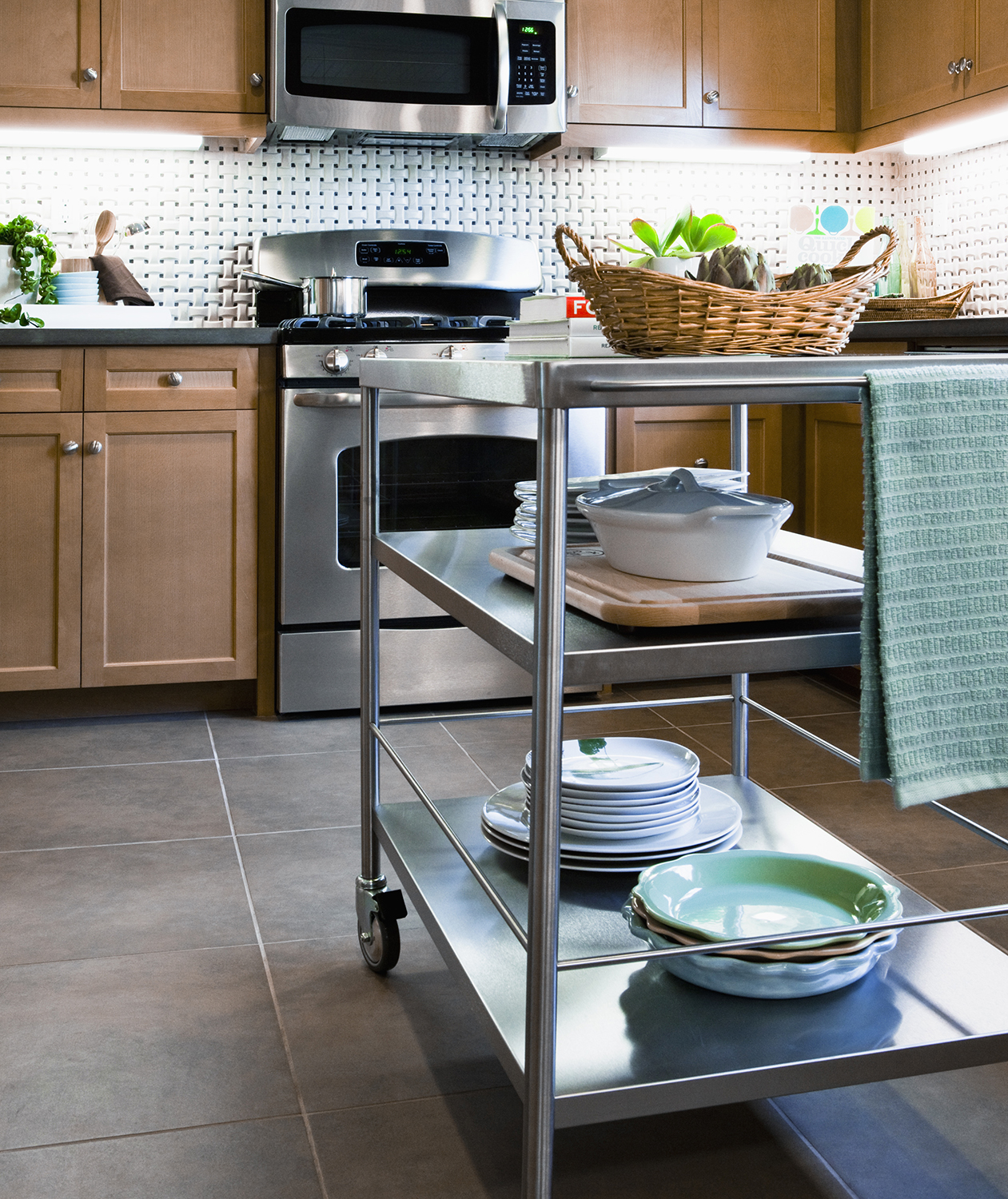 Kitchen with rolling cart