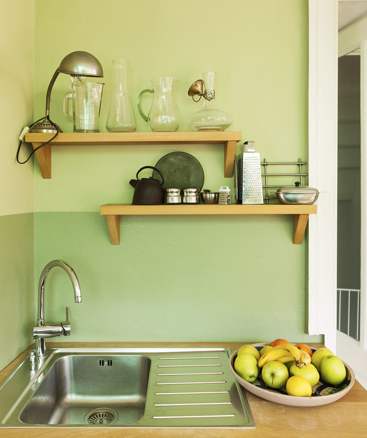 Kitchen with green walls
