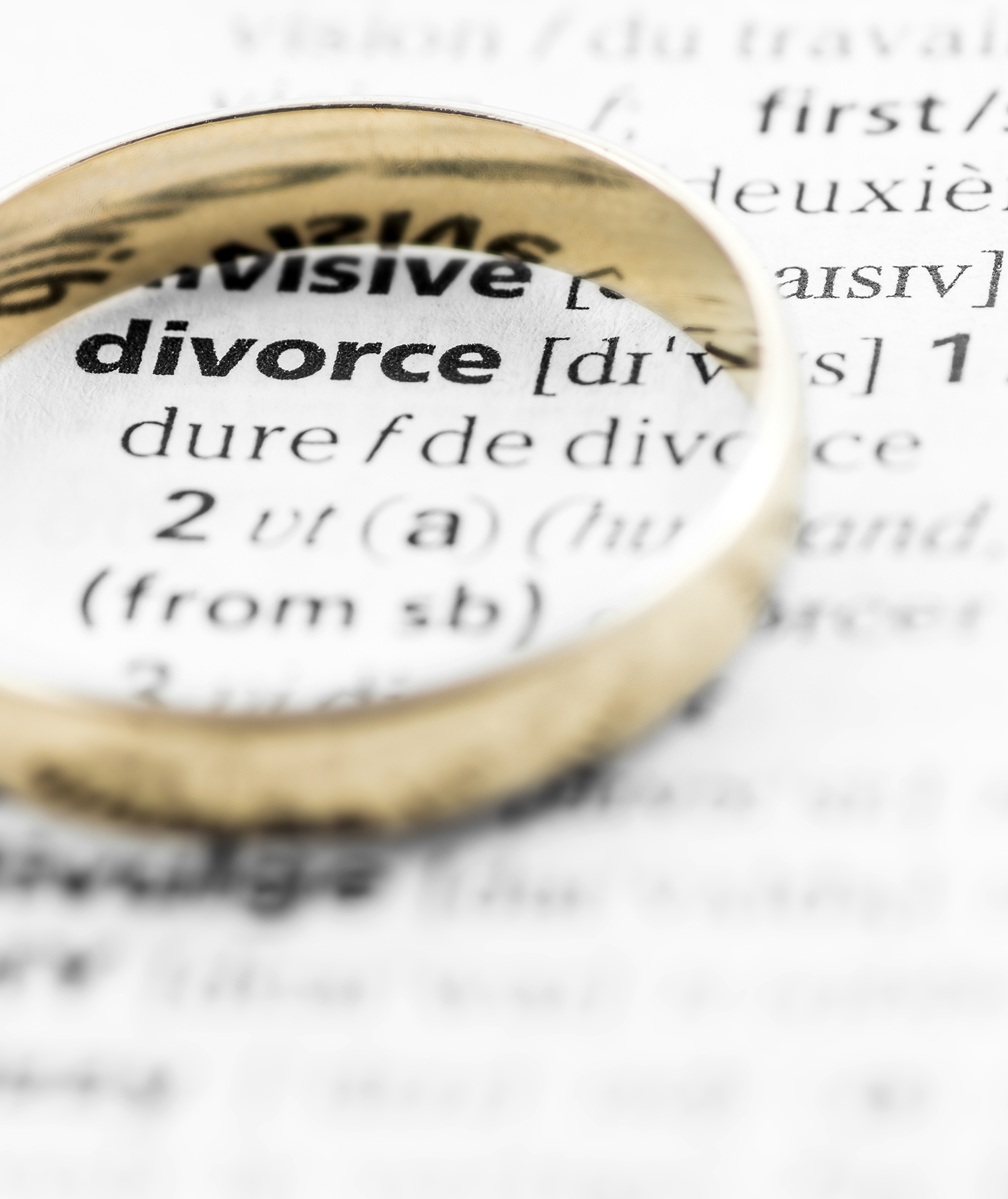 Wedding ring sitting on divorce entry of the dictionary