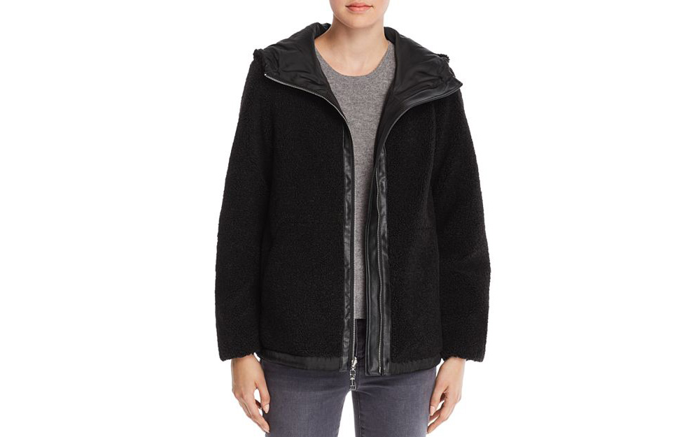 Vince Camuto Hooded Zip-Front Faux Fur Teddy Jacket