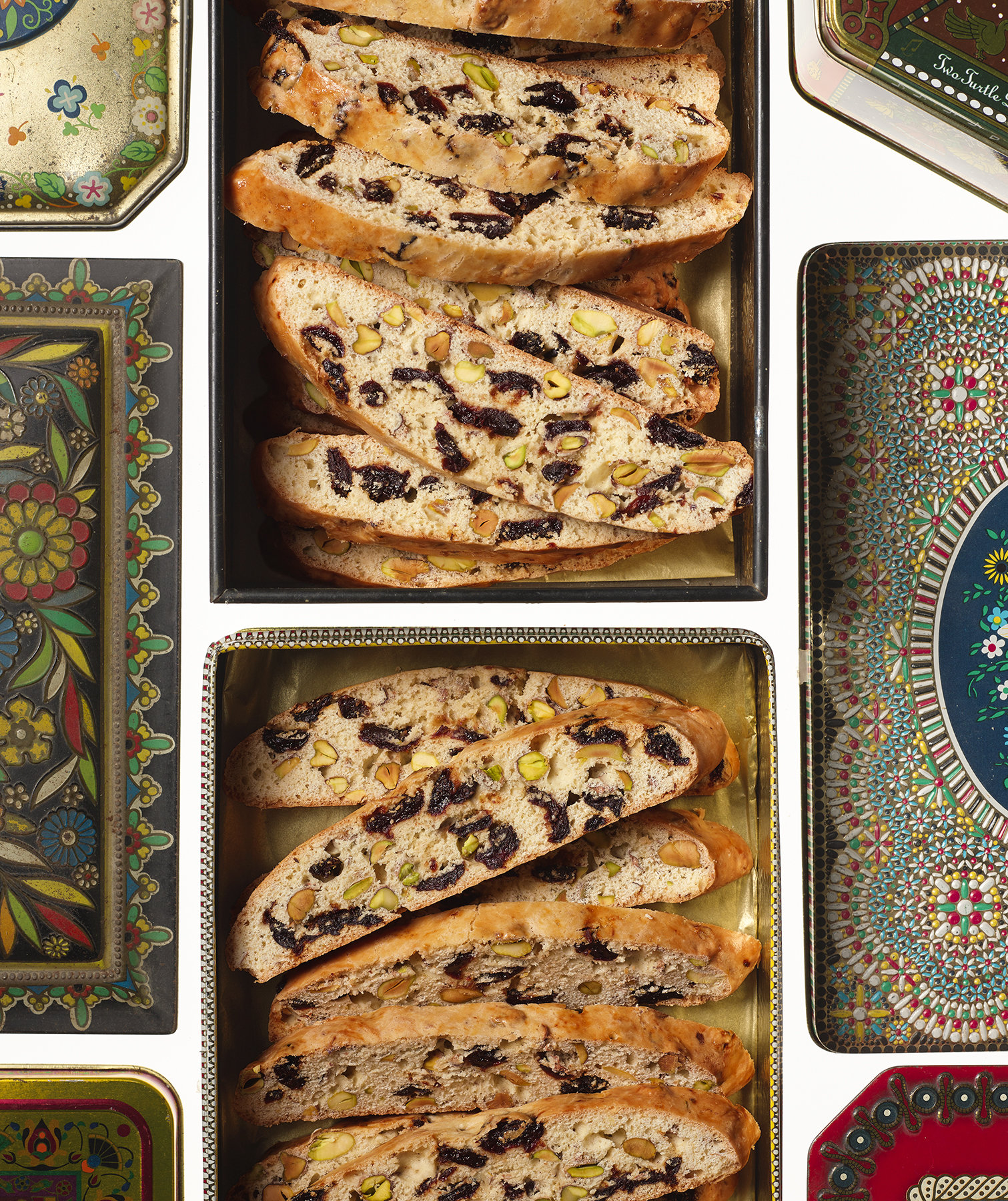 Cherry and Pistachio Bake-Once Biscotti
