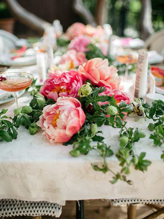 Peony Draped Table Runner