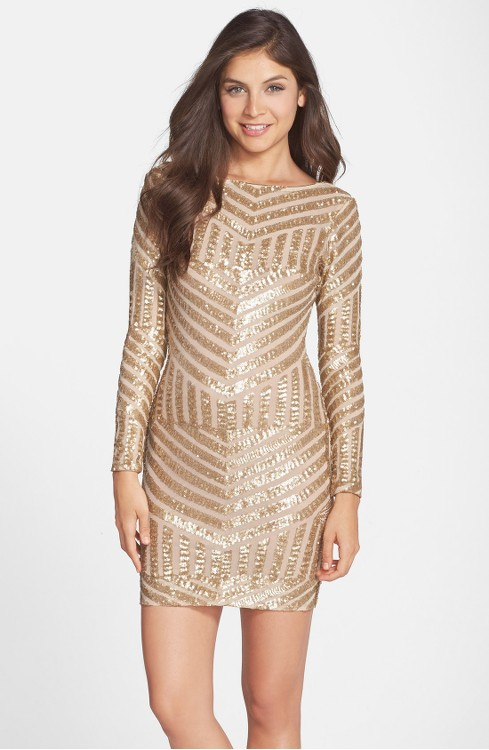 Gold Long-Sleeved Mini Dress