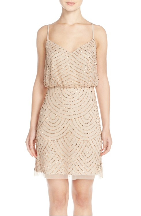 Sequin Mesh Blouson Dress