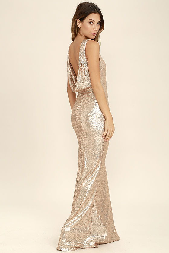 Draped Back Sequin Gown