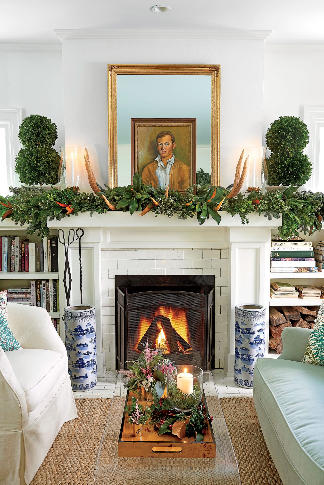 Hillenmeyer Living Room with Fireplace Decorated for Christmas