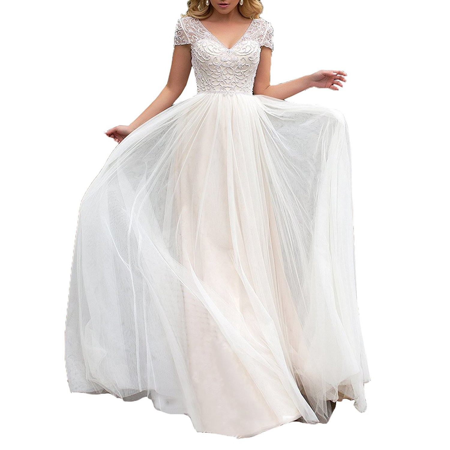 Cap Sleeve Bohemian Wedding Dress