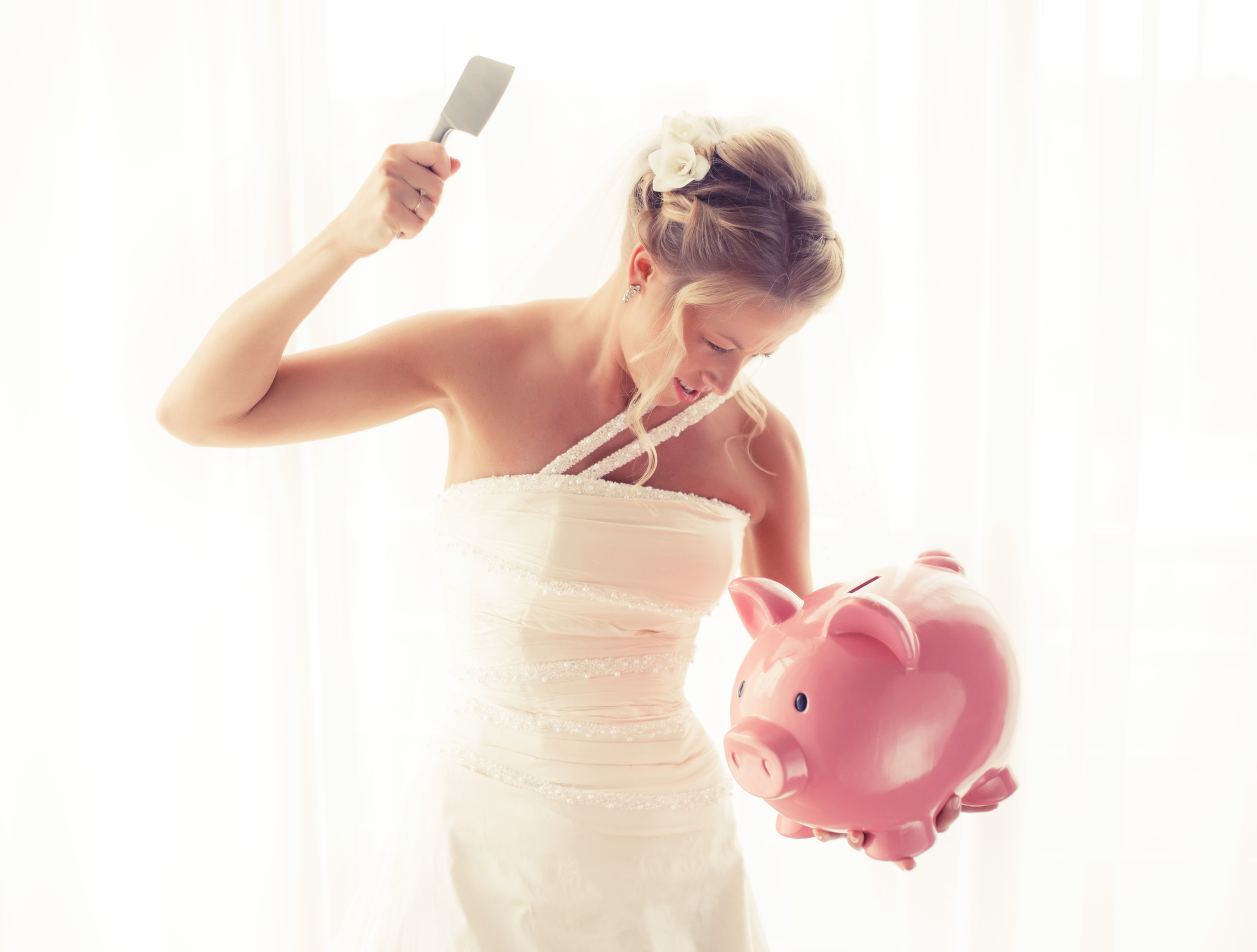 Bride Breaking Piggy Bank