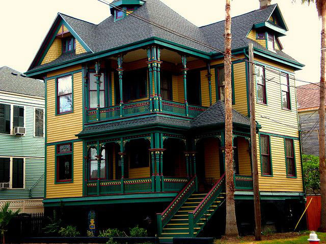 Yellow and Green House in Galveston Texas