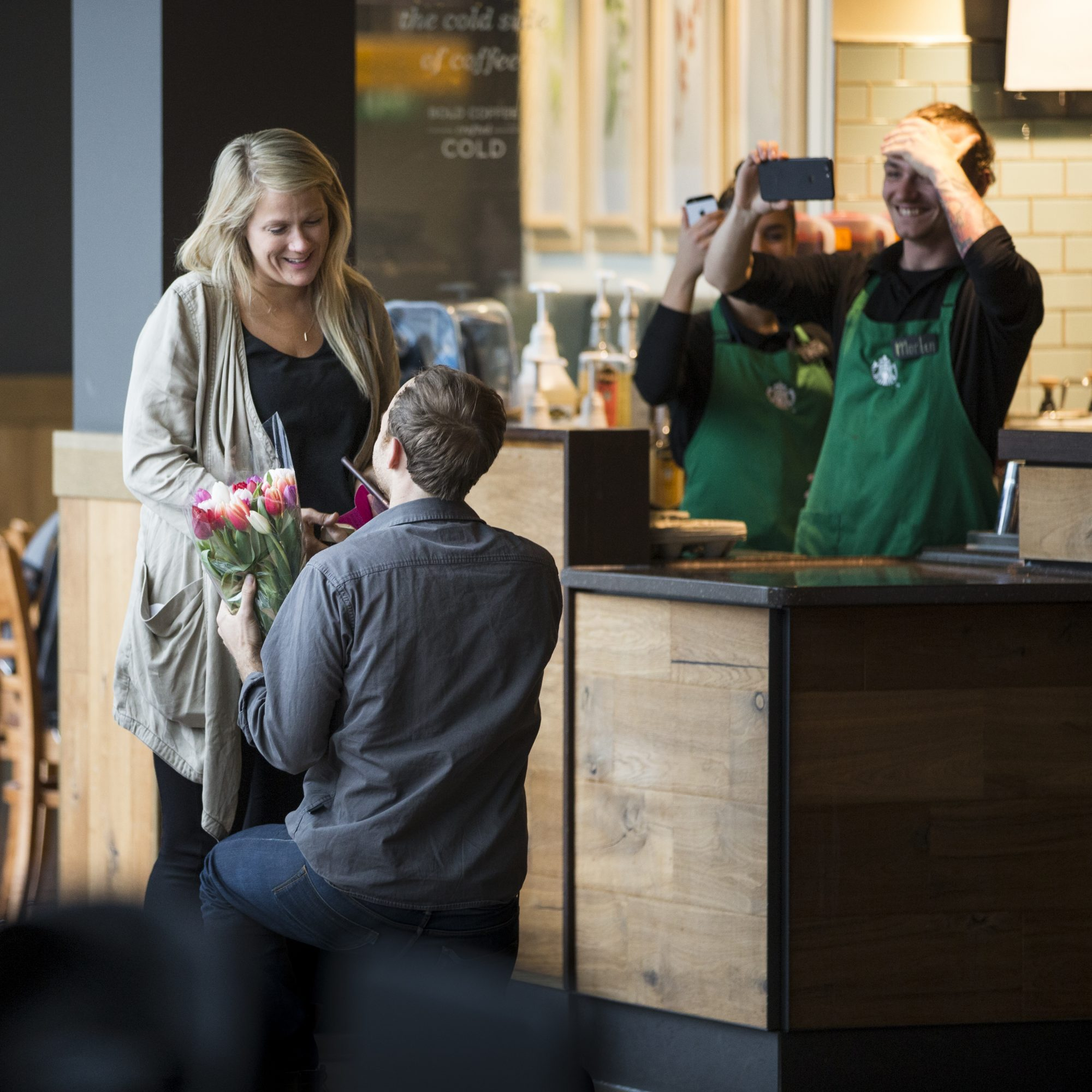 Austin Mann and Esther Havens Starbucks Proposal