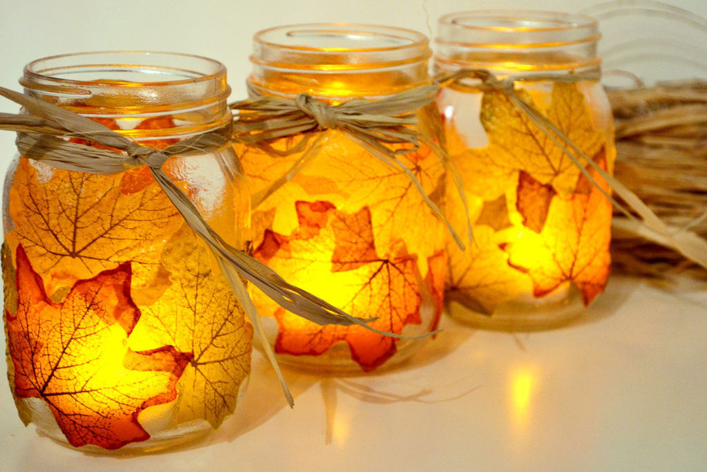 Autumn Leaf Mason Jars