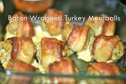 Bacon Wrapped Baked Turkey Meatballs