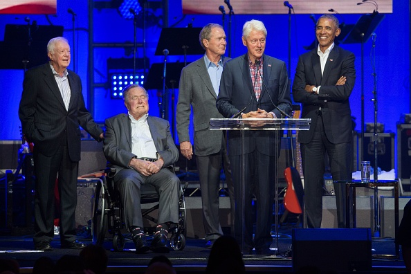 Former U.S. Presidents Jimmy Carter, George H. W. Bush, George W. Bush, Bill Clinton and Barack Obama attend the Hurricane Relief concert in College Station, Texas, on October 21, 2017.