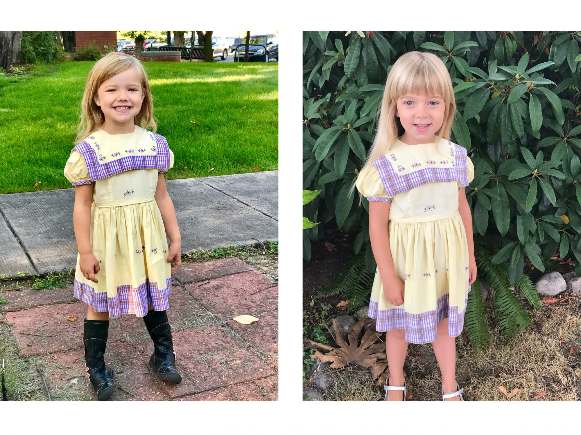 Purple and yellow dress images