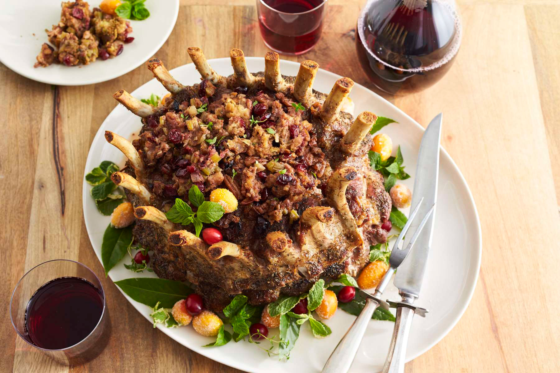 Crown Pork Roast with Cranberry Pecan Stuffing Recipe