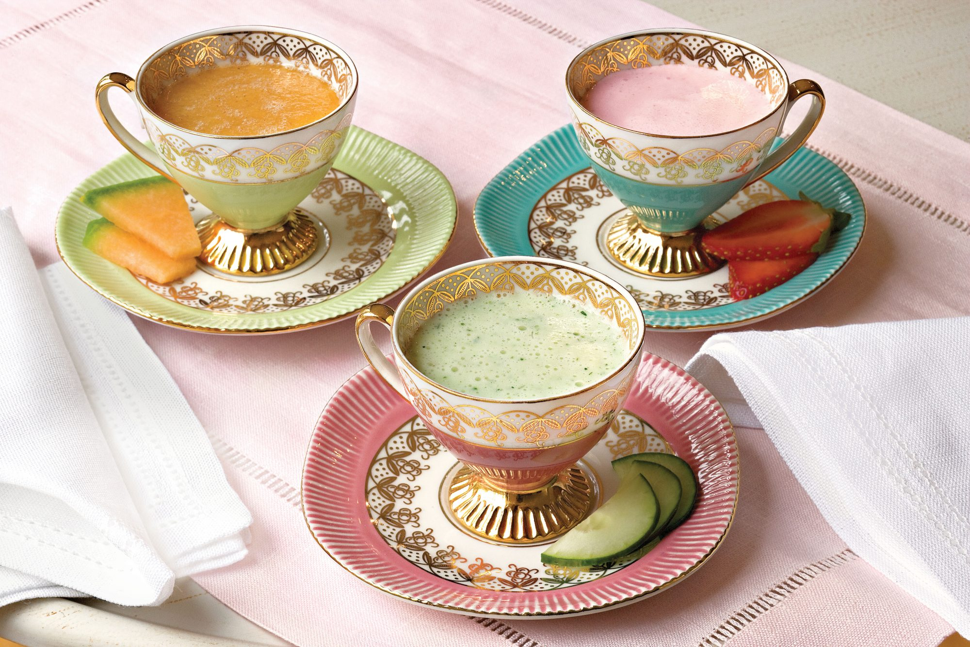 Chilled Cucumber, Cantaloup, and Strawberry Soups