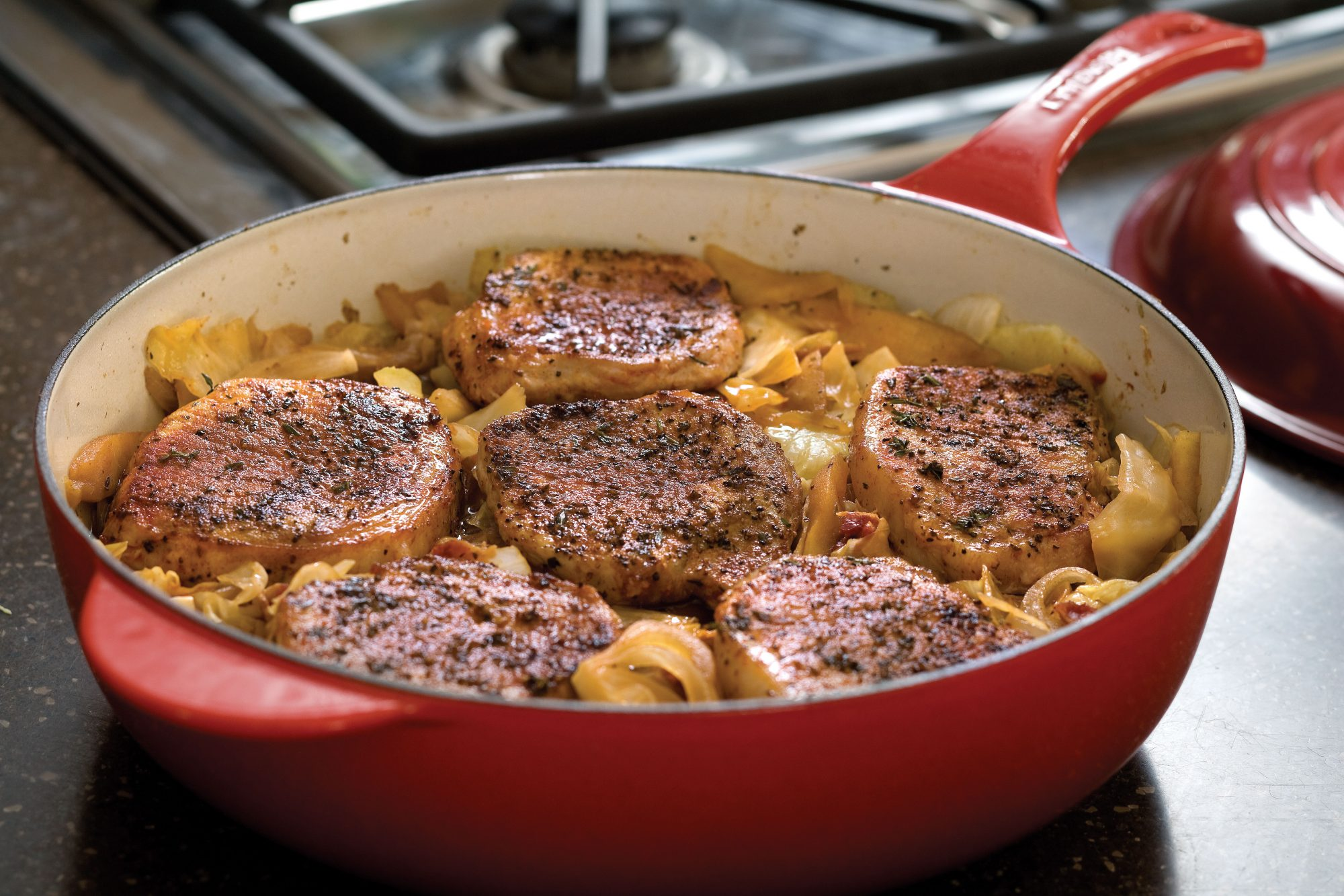 Pork Chops, Cabbage, and Apples