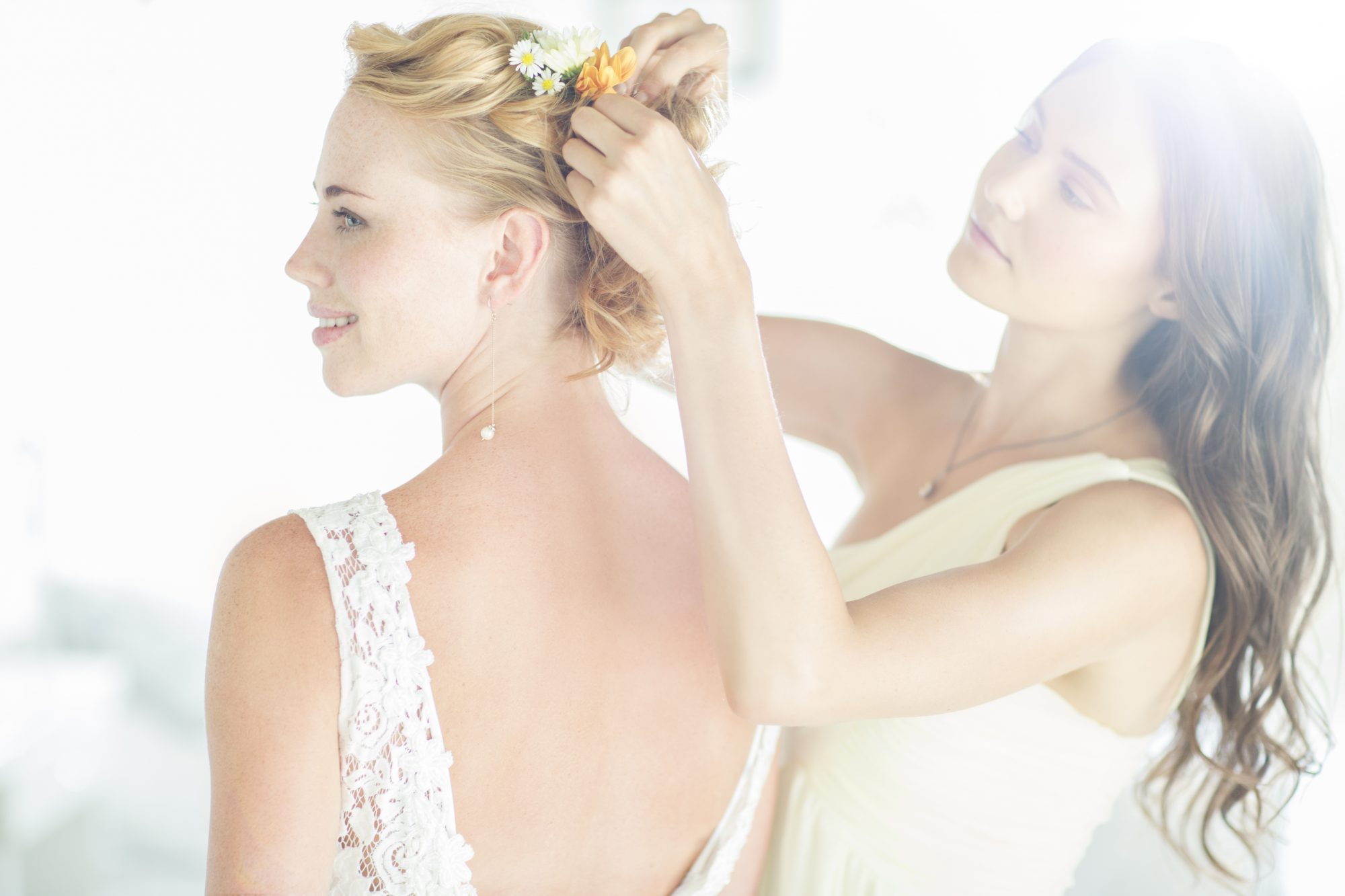 Bride and Maid of Honor Getting Ready