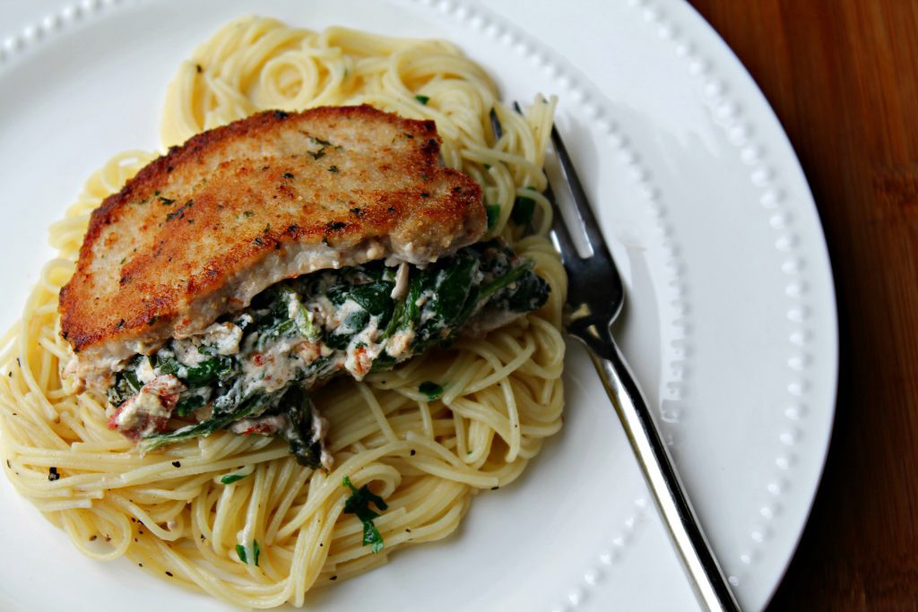 Goat Cheese Stuffed Pork Chops