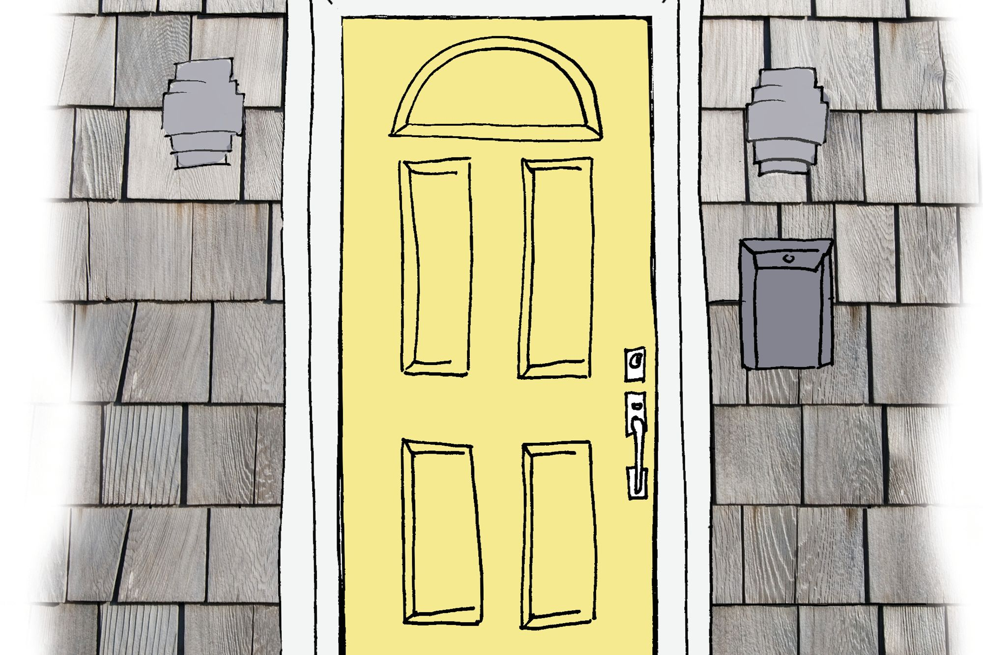 A soft, buttery yellow door brightens the gray facade, and white trim adds polish.