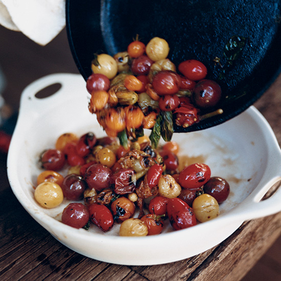 Skillet-Charred Cherry Tomatoes with Basil
