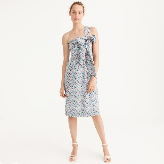 J Crew One-Shoulder Tie Dress in Liberty Claire-Aude Floral