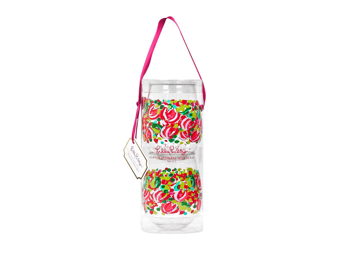 Lilly Pulitzer Stemless Acrylic Wine Glasses