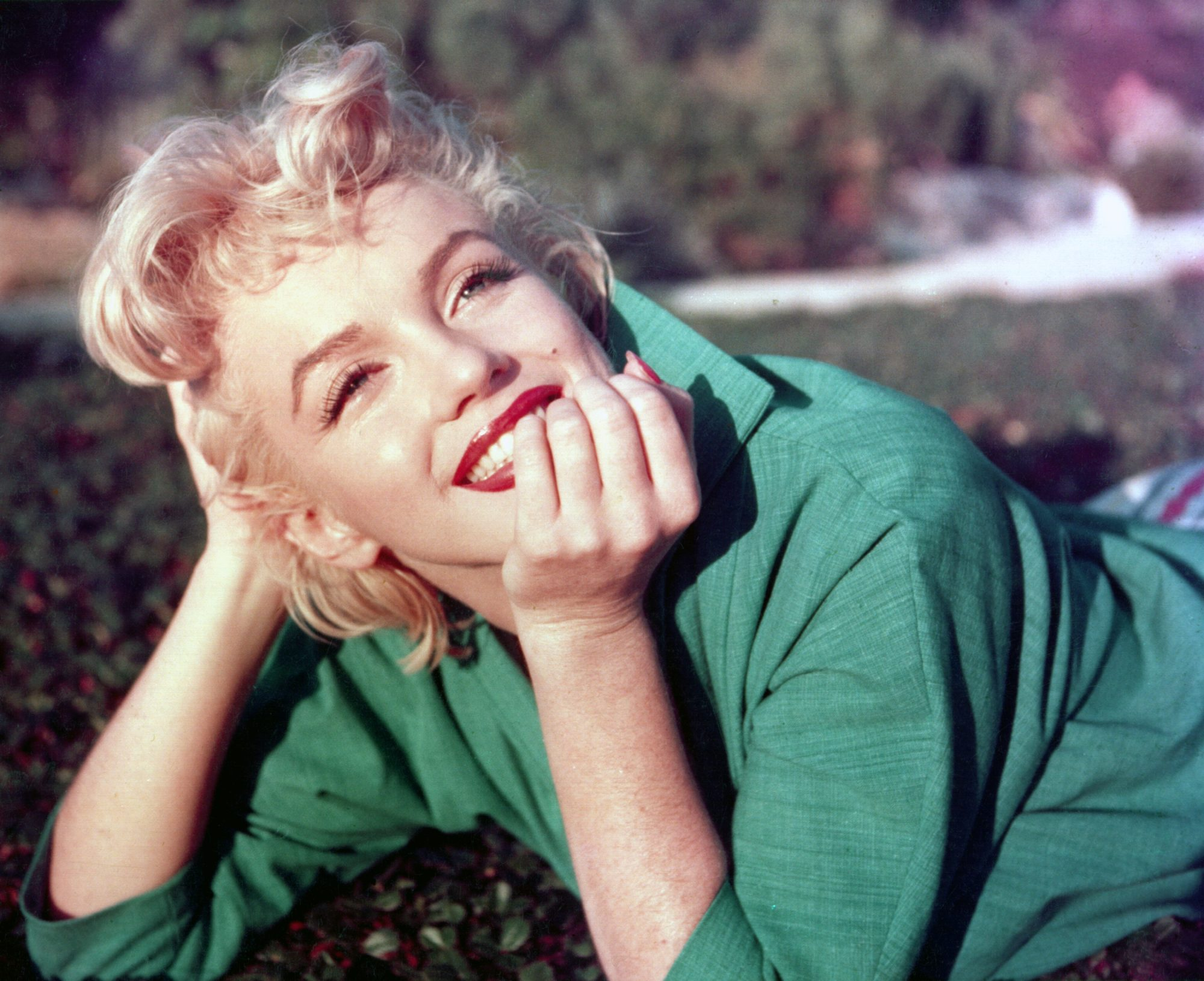 Marilyn Monroe in Green Shirt with Red Lipstick