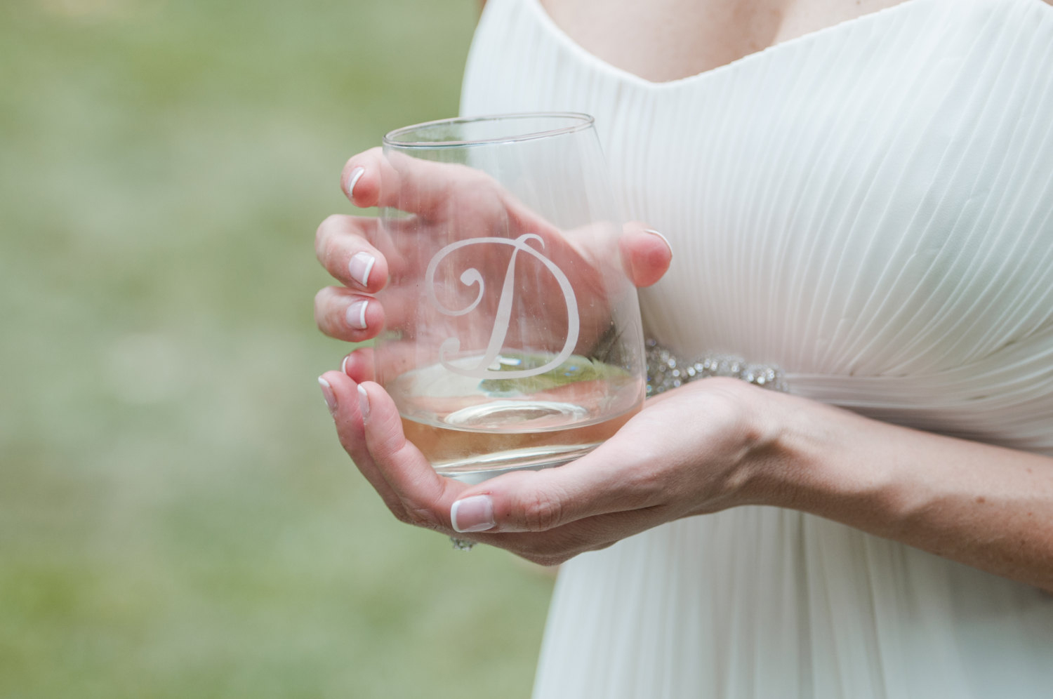 Set of Etched Stemless Wine Glasses
