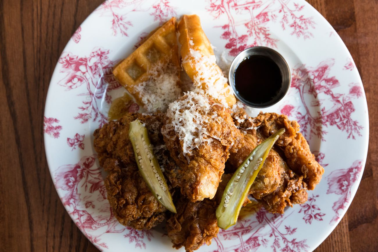 Succotash Fried Chicken and Waffles