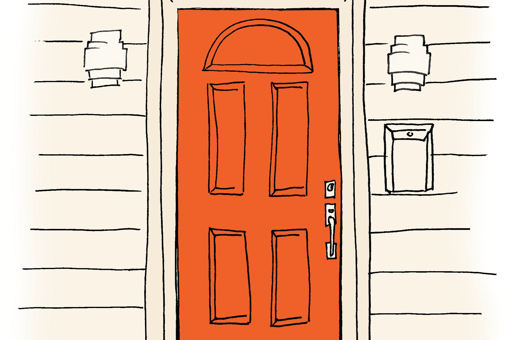 This bold, high-gloss front door is a great pick  if you really want to knock your neighbors' socks off,  says New York-based designer Colleen Bashaw.