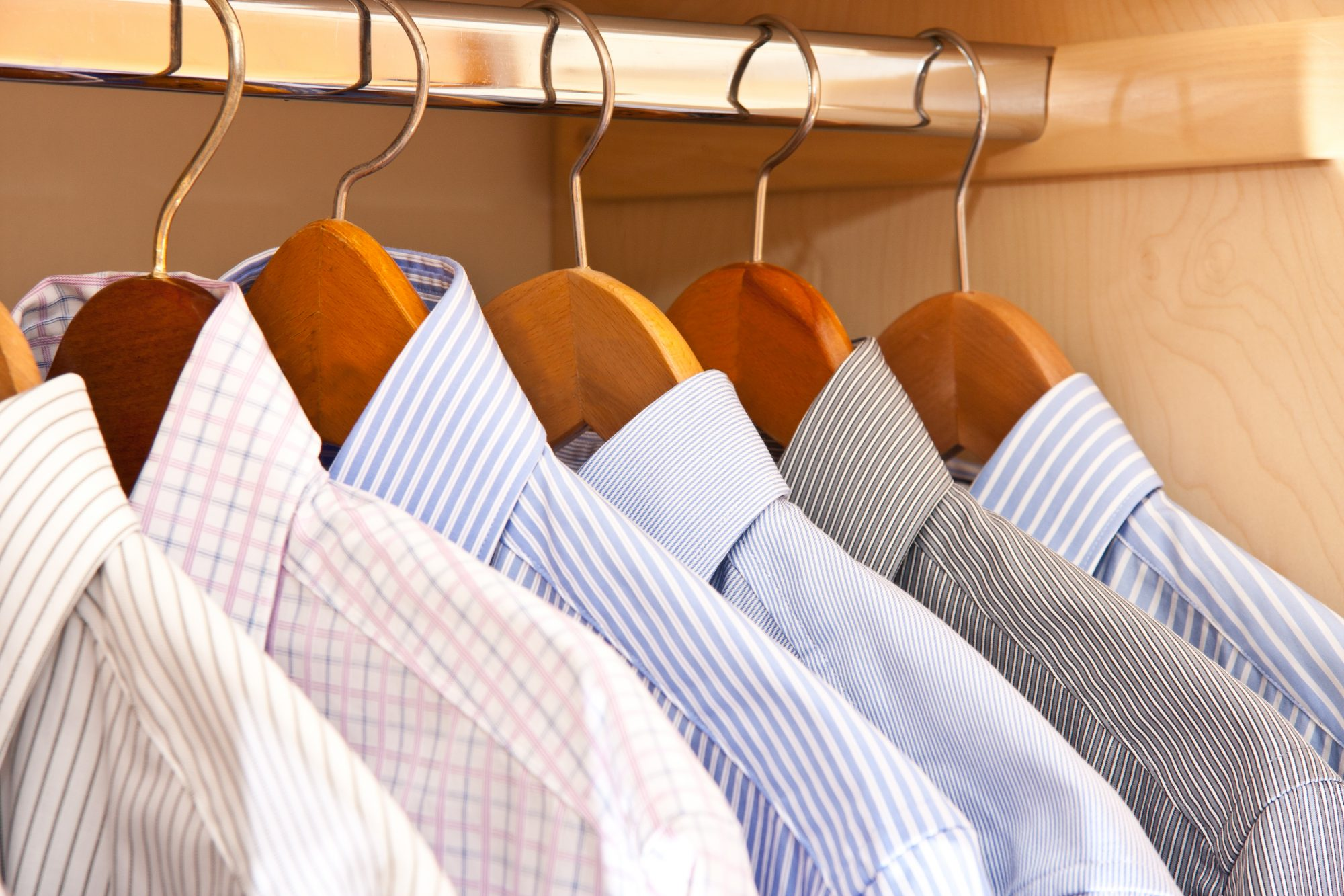Oxford Shirts Hanging in Closet