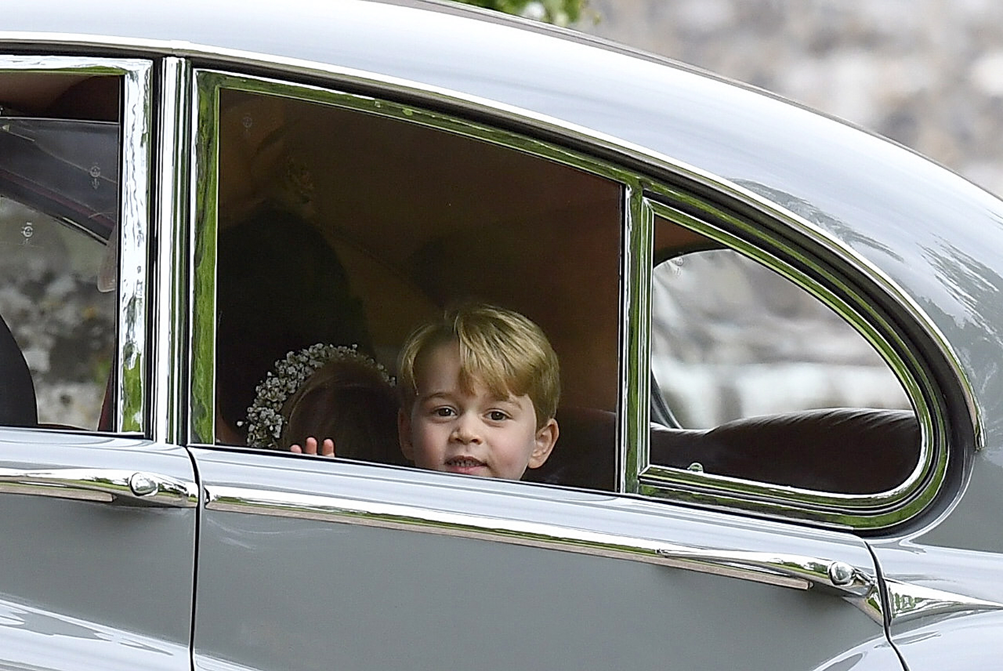 Prince George checks out the view after the ceremony