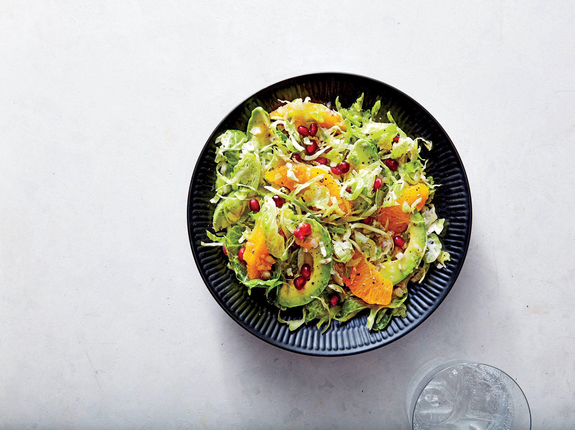 Pomegranate, Avocado, and Citrus Brussels Sprouts Salad