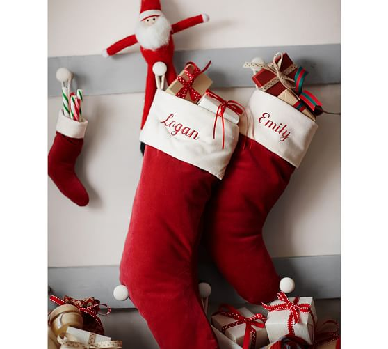 Stock Up On These Holiday Decorations Now Pottery Barn Red And White Velvet Stockings