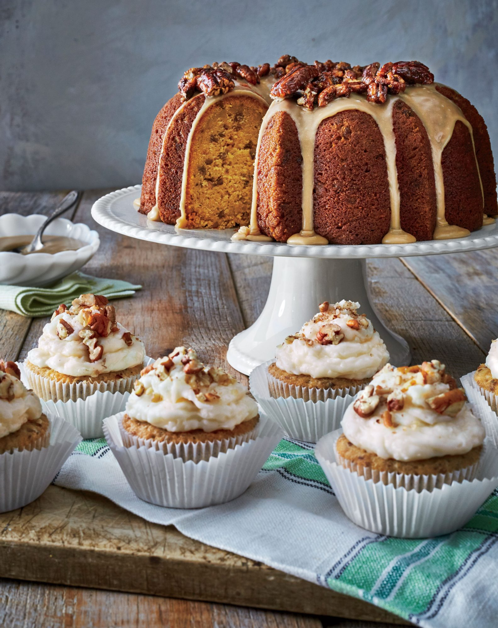 Toasted Coconut-Pecan Cupcakes with Coconut-Cream Cheese Frosting