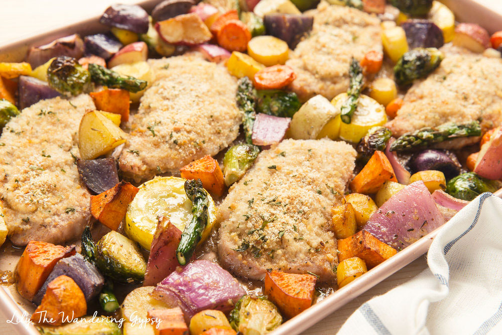 Roasted Rainbow Vegetables and Pork Chops