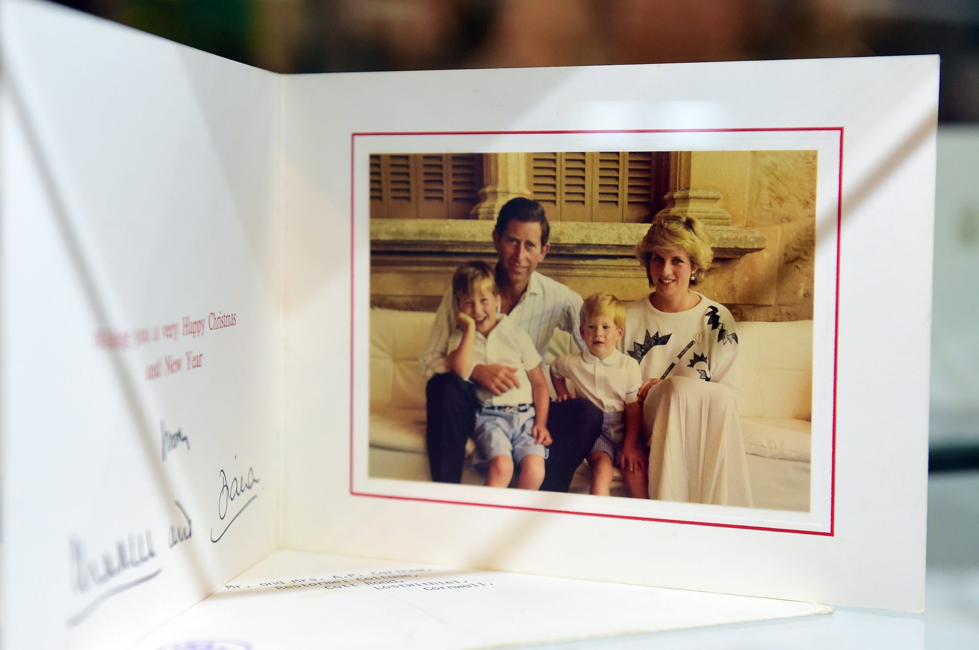 Prince William, Prince Harry, Princess Diana, and Prince Charles Christmas Card