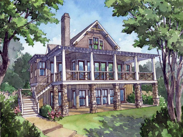 Southern Living House Plan Rendering