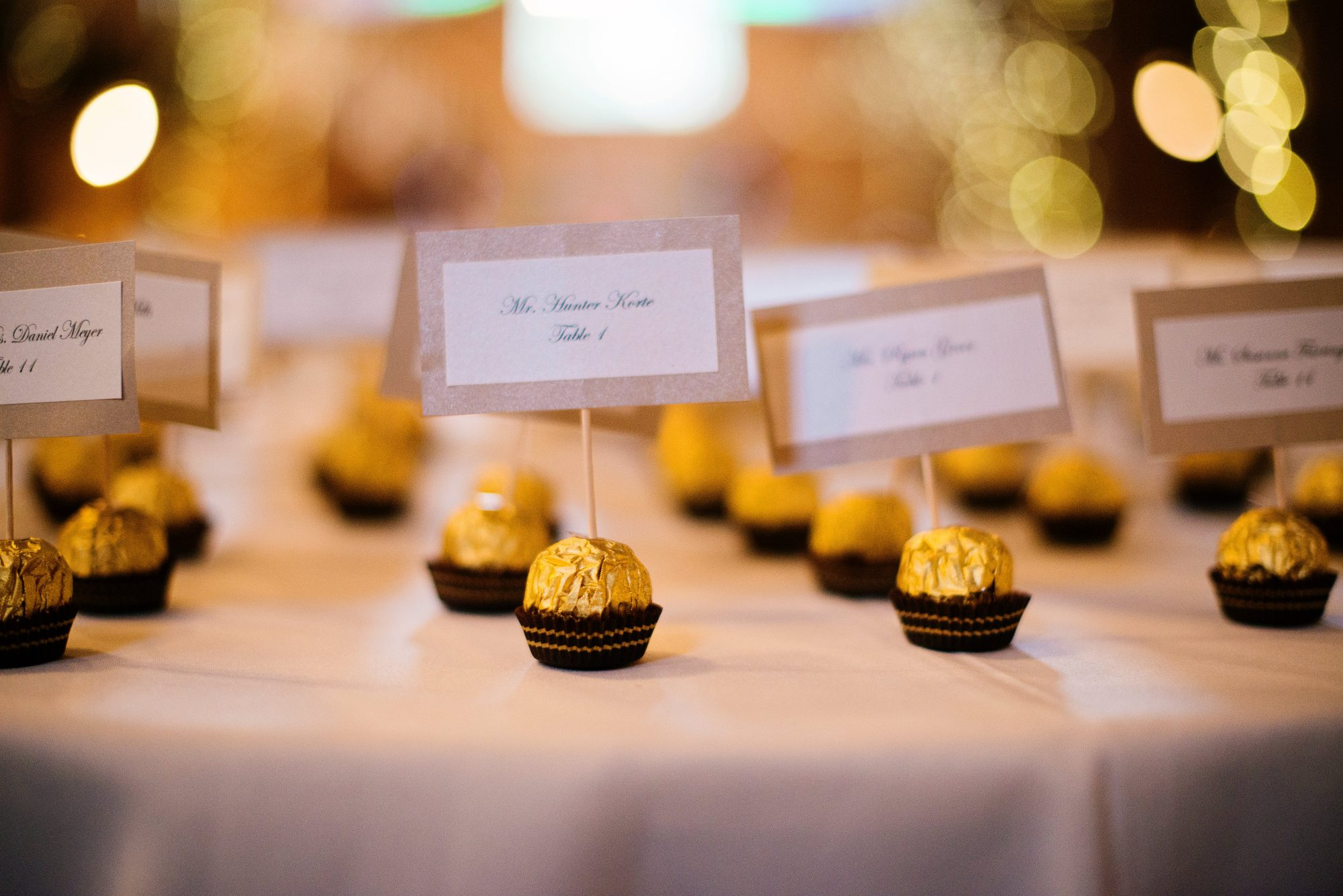 Ferrero Rocher Chocolate Escort Cards