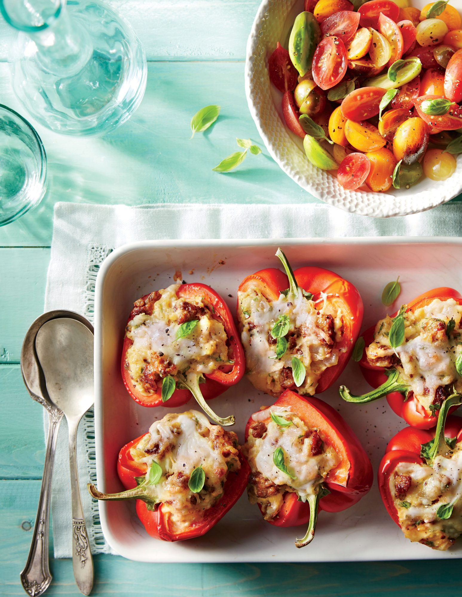 Stuffed Peppers with Grits and Sausage
