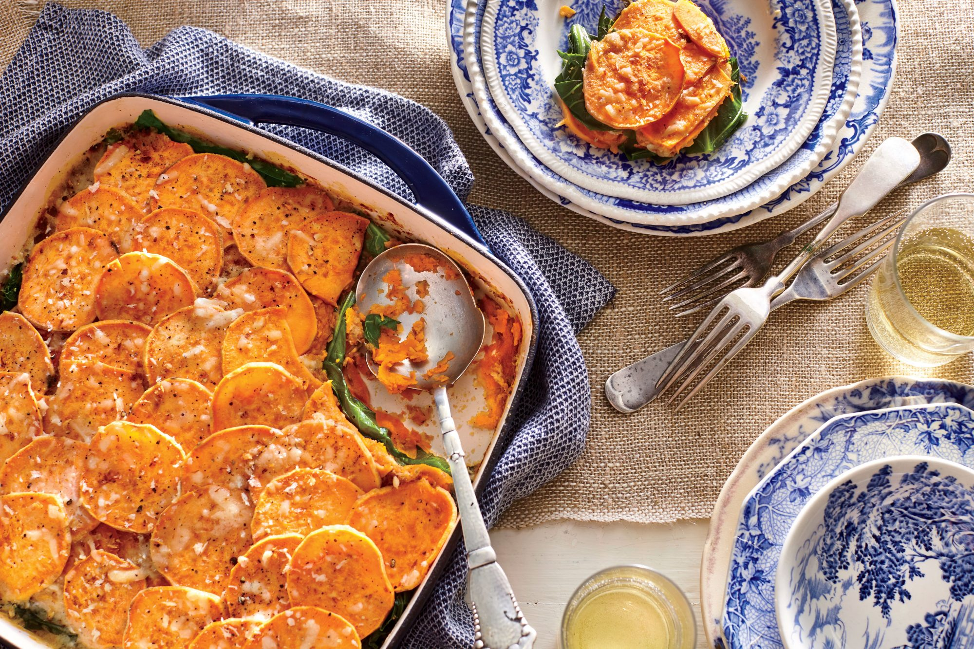 Sweet Potato-and-Collard Green Gratin Recipe